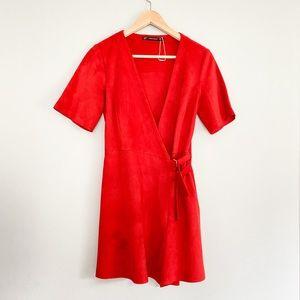 Zara suede wrap dress